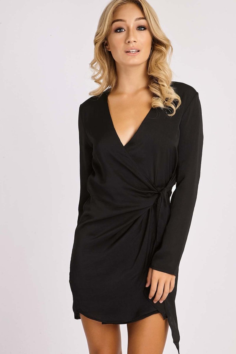 CELESTINE BLACK SILKY WRAP SHIRT DRESS