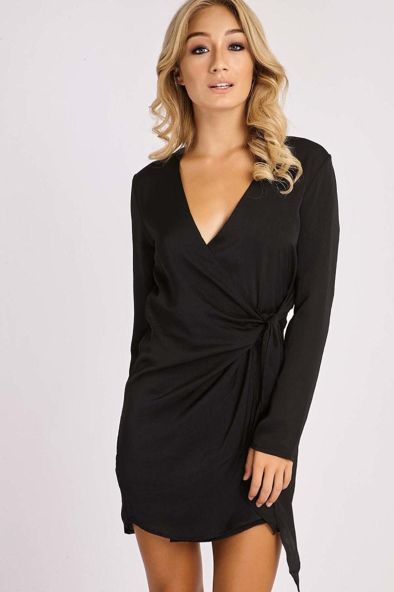 black silky wrap shirt dress
