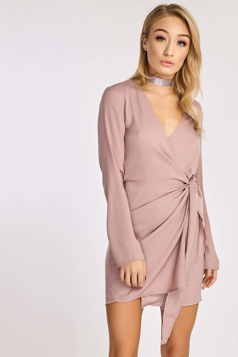 mink silky wrap shirt dress