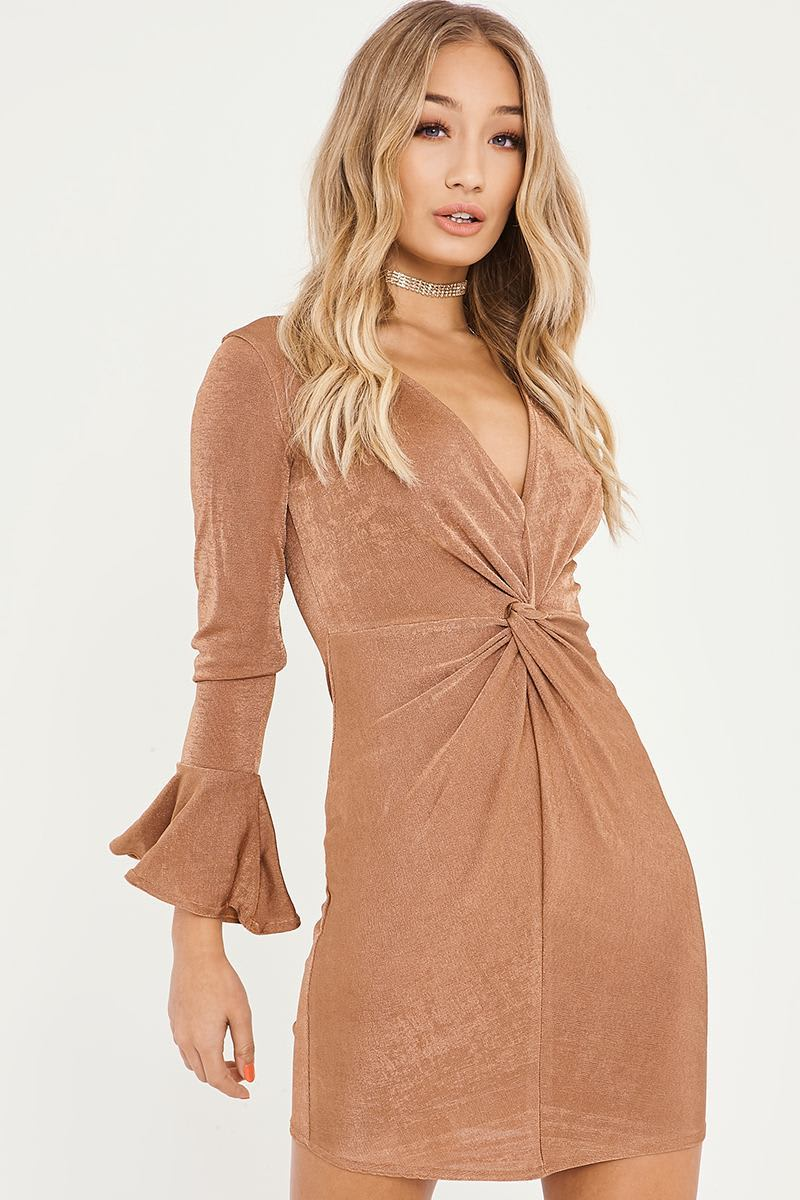 BILLIE FAIERS COPPER TWIST FRONT FLARED SLEEVE DRESS
