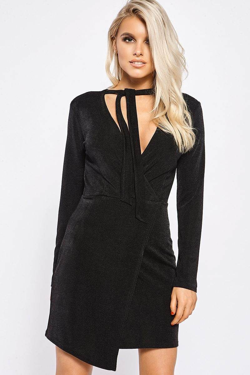 black wrap front slinky dress