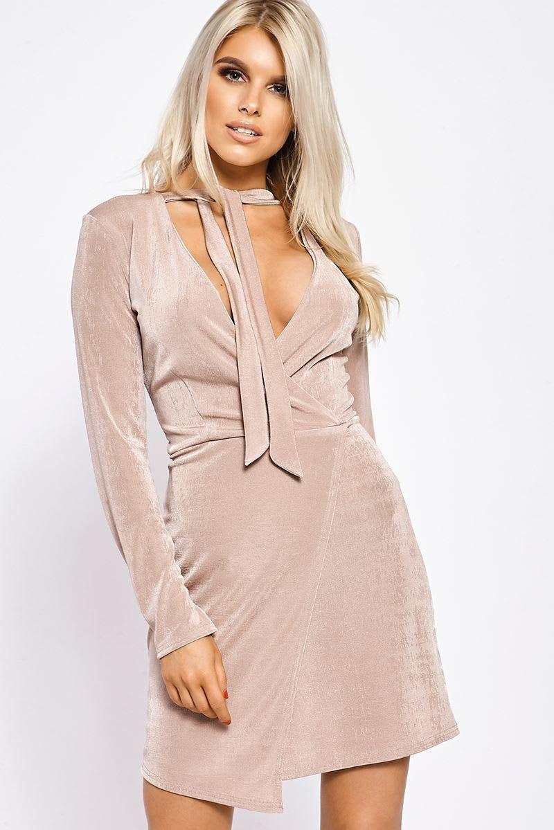 blush wrap front slinky dress