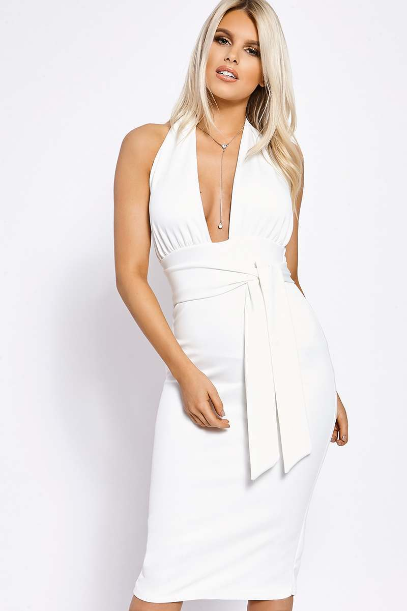 BILLIE FAIERS WHITE HALTERNECK TIE WAIST MIDI DRESS