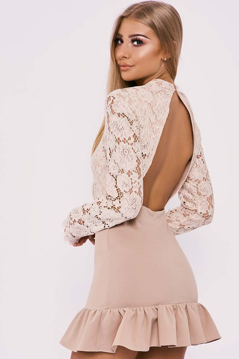 BILLIE FAIERS NUDE LACE BACKLESS PEPLUM DRESS