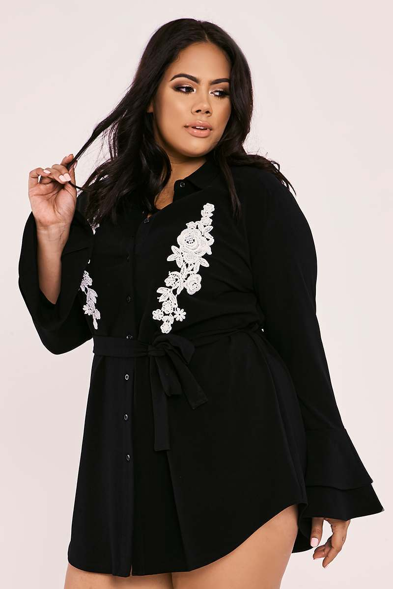 CURVE BILLIE FAIERS BLACK FLORAL APPLIQUE DOUBLE FRILL SHIRT DRESS