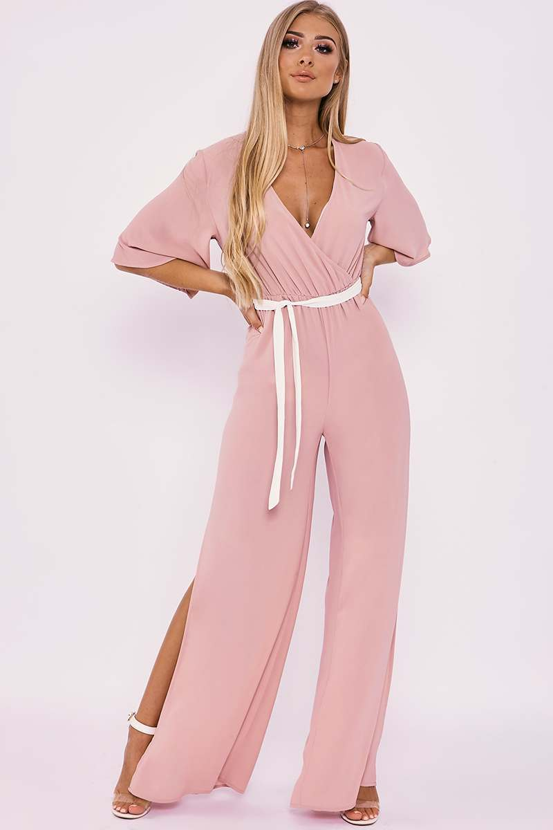 BILLIE FAIERS NUDE WRAP FRONT PALAZZO JUMPSUIT