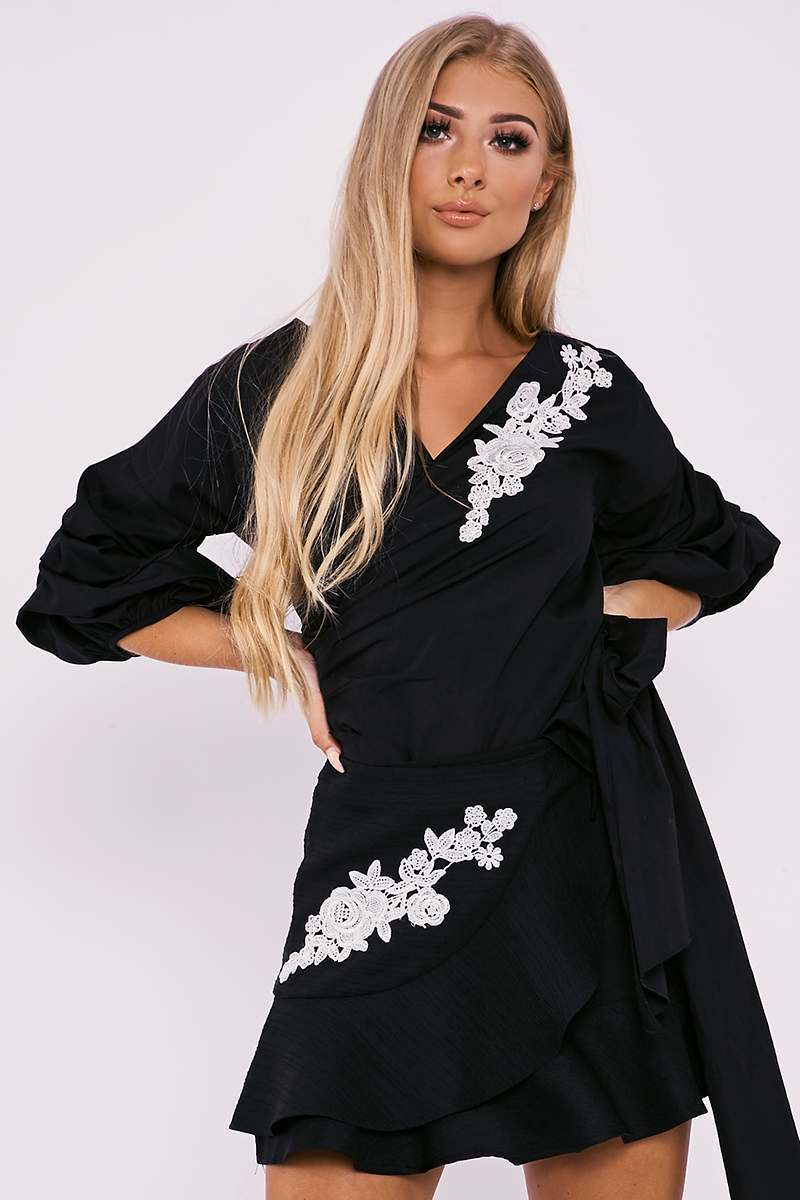 BILLIE FAIERS BLACK FLORAL APPLIQUE RUFFLE WRAP SKIRT