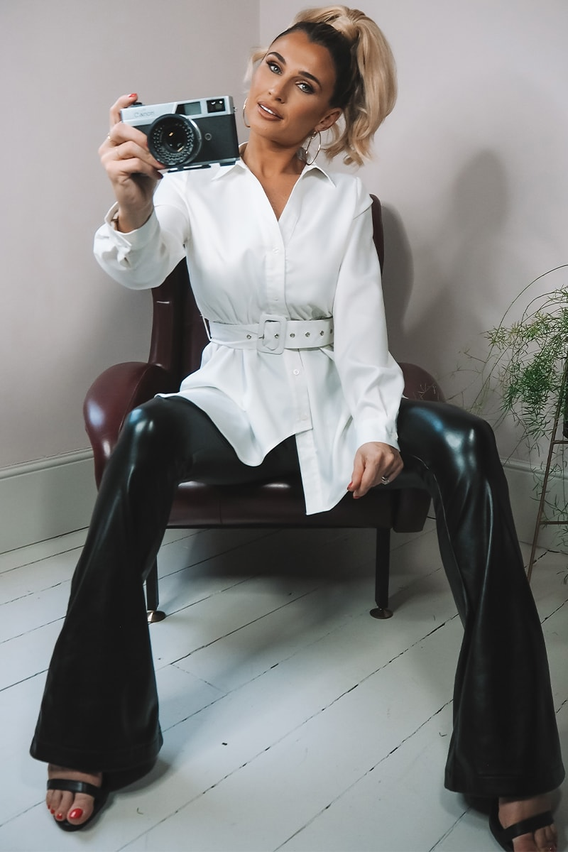 BILLIE FAIERS BLACK FAUX LEATHER FIT AND FLARE TROUSERS