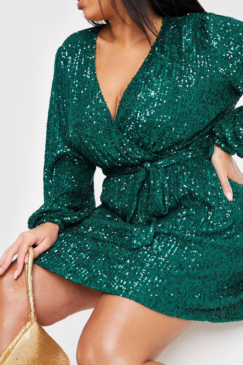 CURVE BILLIE FAIERS GREEN SEQUIN WRAP BALLOON SLEEVE DRESS