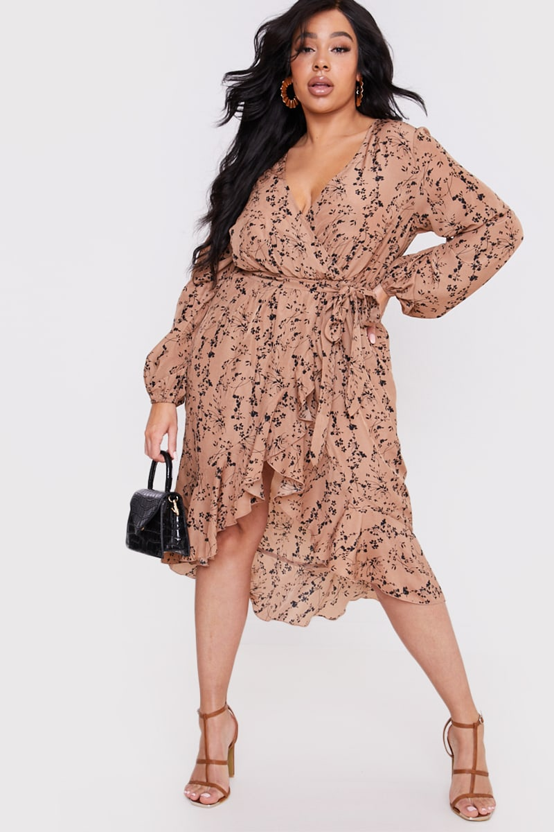 CURVE BILLIE FAIERS STONE PRINT WRAP FRILL MIDI DRESS