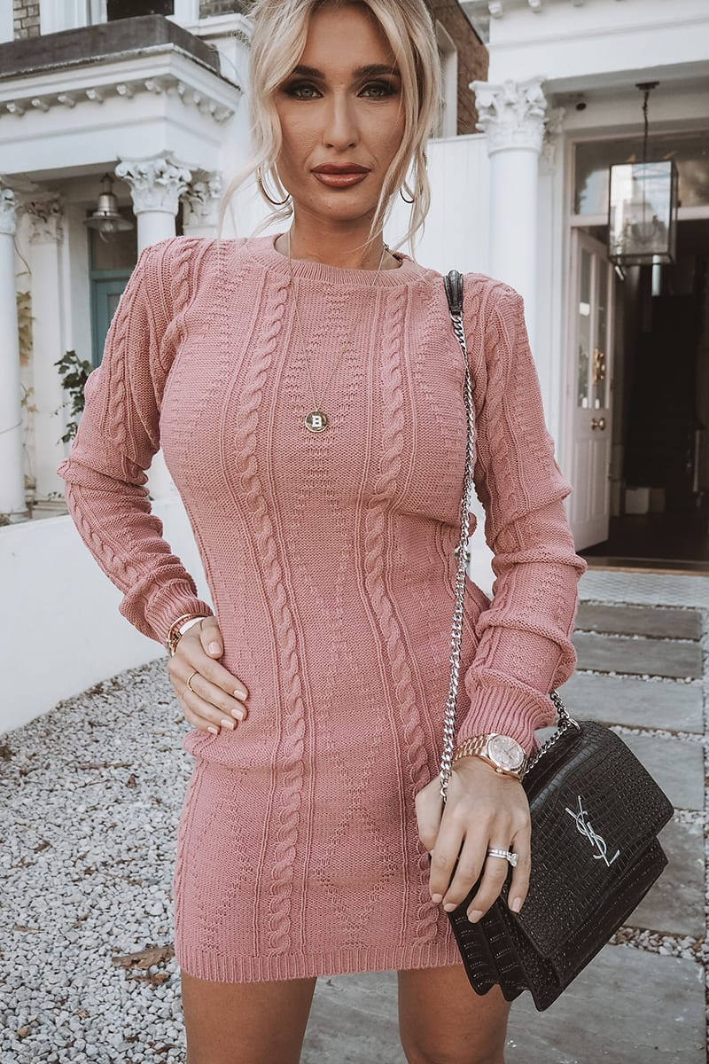 BILLIE FAIERS PINK CABLE KNIT HIGH NECK MINI DRESS