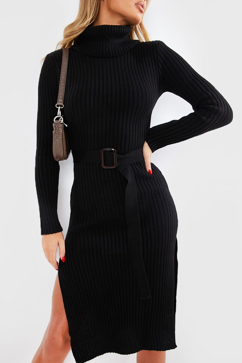 BILLIE FAIERS BLACK KNITTED HIGH NECK BELTED MIDI DRESS
