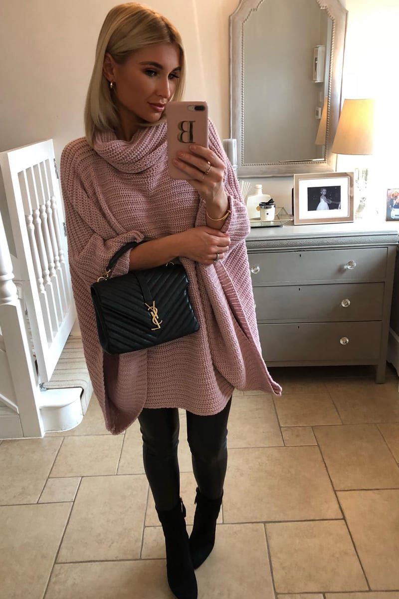 BILLIE FAIERS PINK EXAGGERATED WIDE SLEEVE KNITTED JUMPER