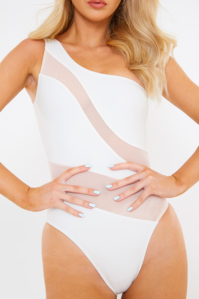 BILLIE FAIERS WHITE NUDE MESH CUT OUT SWIMSUIT