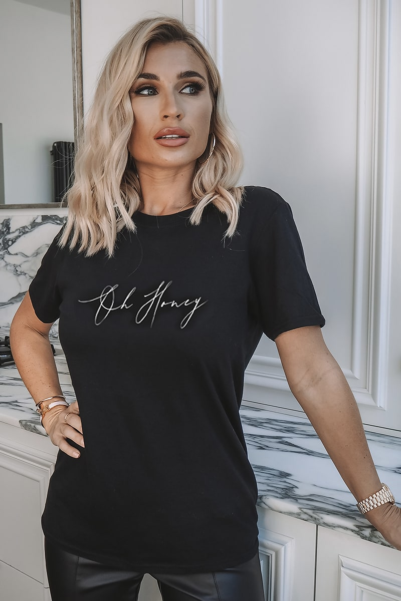 BILLIE FAIERS BLACK 'OH HONEY' SLOGAN T SHIRT