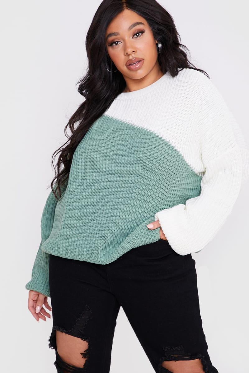 CURVE BILLIE FAIERS GREEN ASYMMETRIC COLOUR BLOCK JUMPER