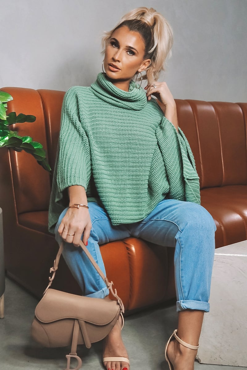 BILLIE FAIERS GREEN EXAGGERATED WIDE SLEEVE KNITTED JUMPER