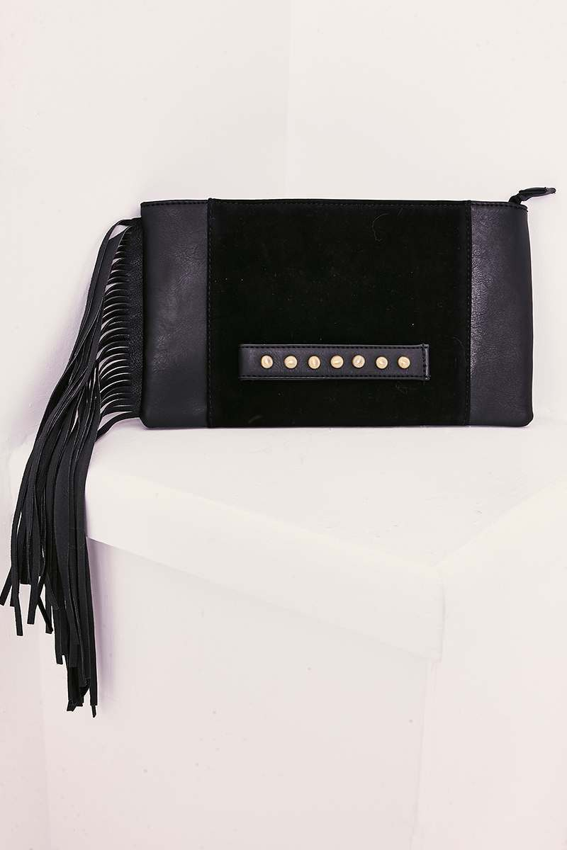 BLACK STUDDED TASSEL EDGE CLUTCH BAG