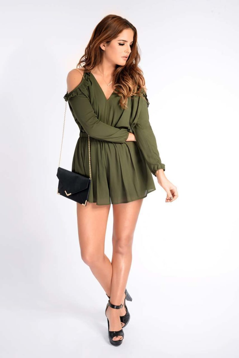 Binky Khaki Long Sleeved Frill Playsuit