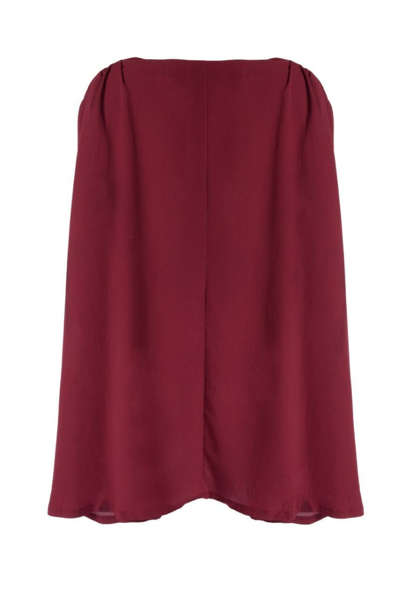 Binky Plunge Neck Drape Dress (Wine)