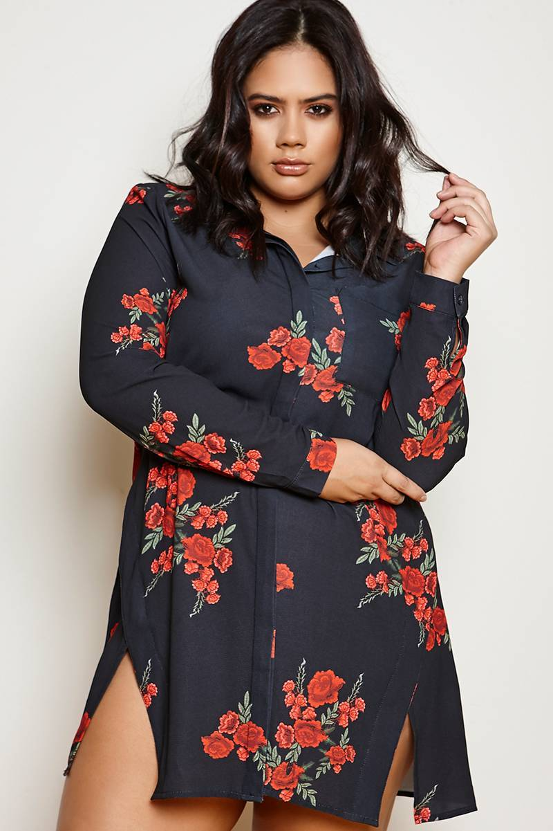 CURVE BINKY CHARCOAL SPLIT FRONT ROSE PRINT SHIRT DRESS