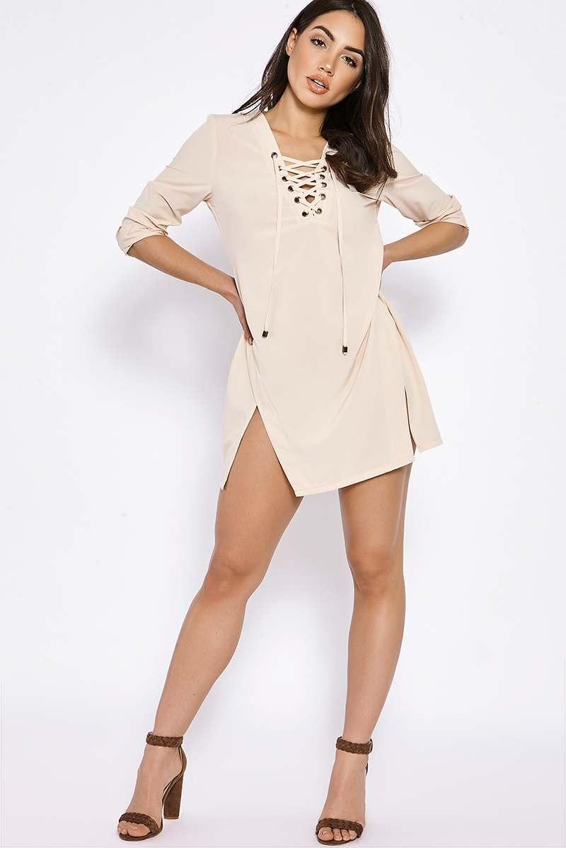 BINKY NUDE LACE UP SPLIT FRONT SHIRT DRESS