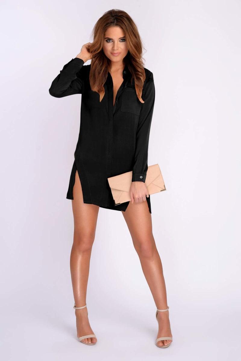 BINKY BLACK SPLIT FRONT SHIRT DRESS