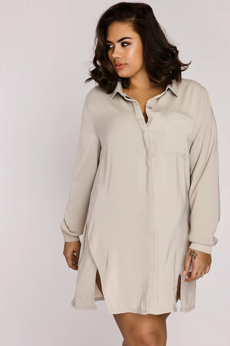CURVE BINKY LIGHT GREY SPLIT FRONT SHIRT DRESS