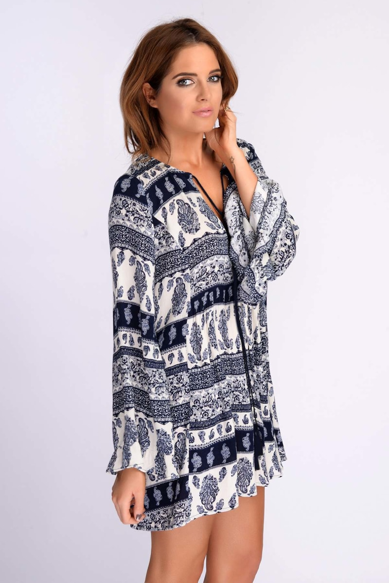 Binky Paisley Stripe Smock Dress