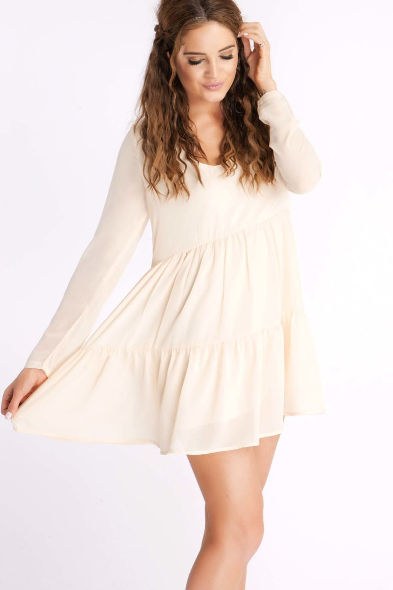 BINKY PALE NUDE SWING TIERED DRESS