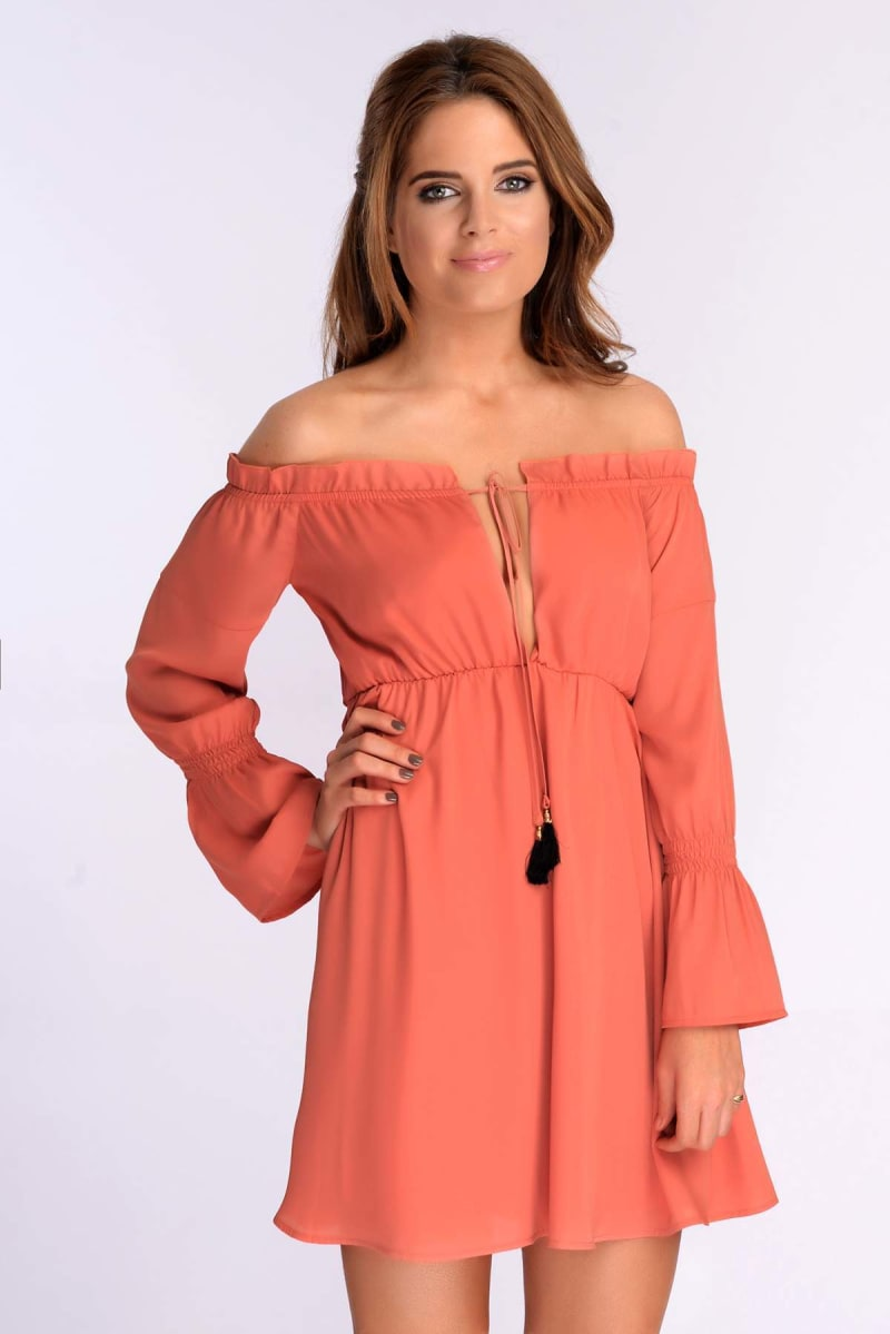 Binky Deep Coral Off The Shoulder Dress