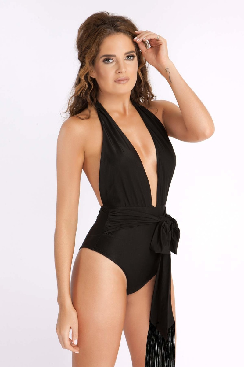 BINKY BLACK PLUNGE SWIMSUIT WITH FRINGE