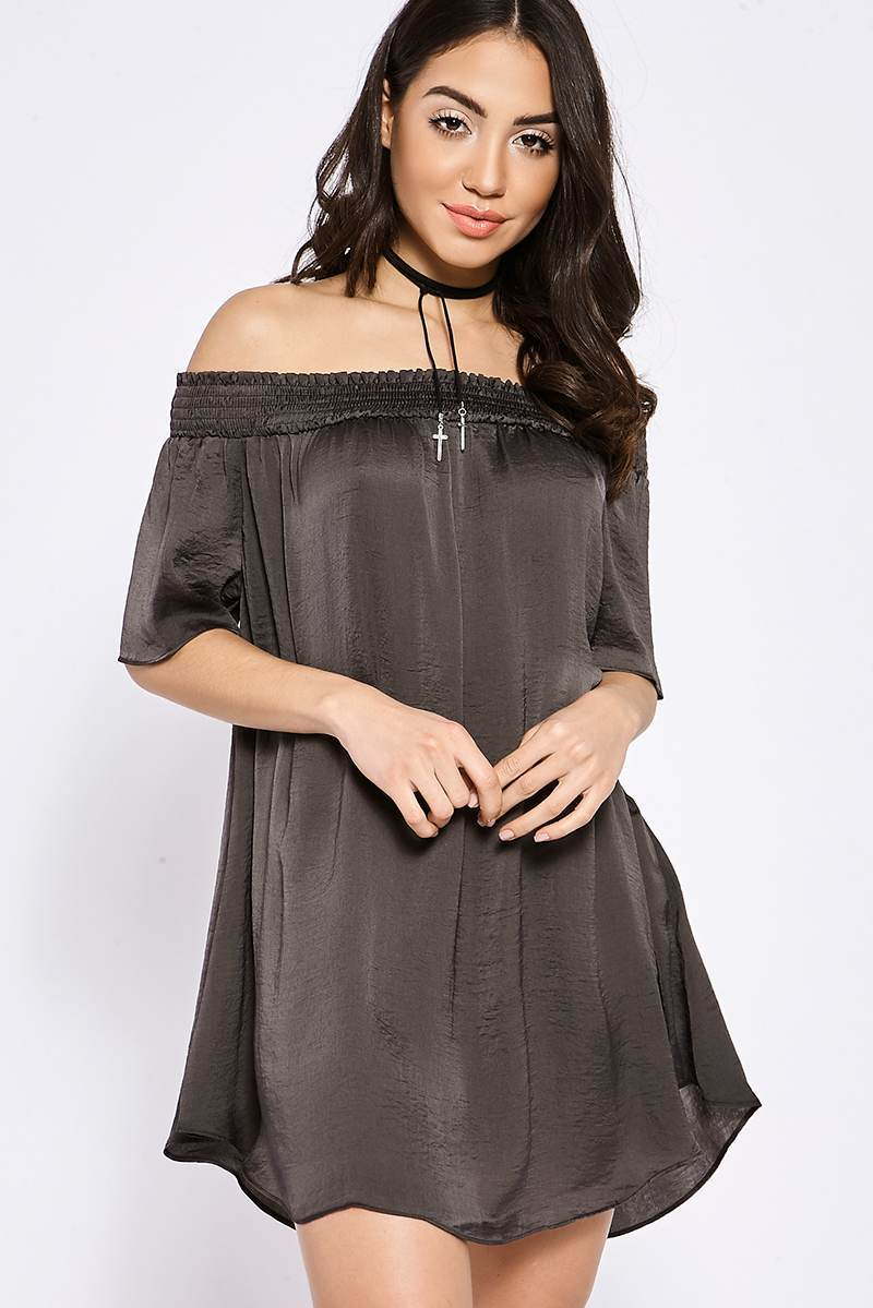BINKY CHARCOAL SILKY BARDOT SWING DRESS