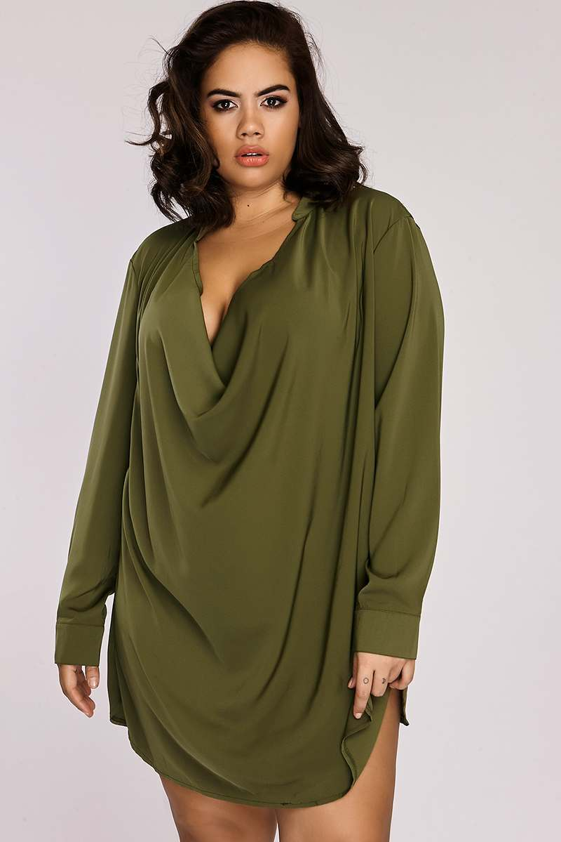 Curve Binky Khaki Cowl Front Shirt Dress