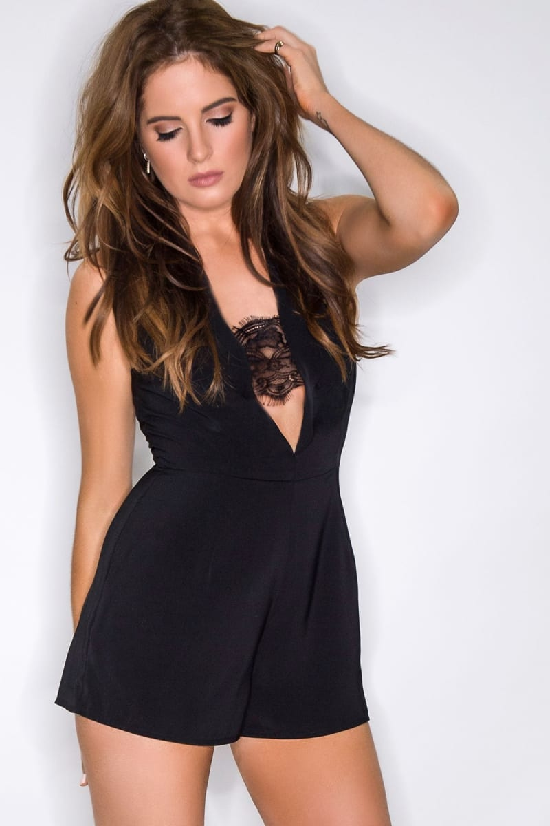 BINKY BLACK LACE INSERT TAILORED PLAYSUIT