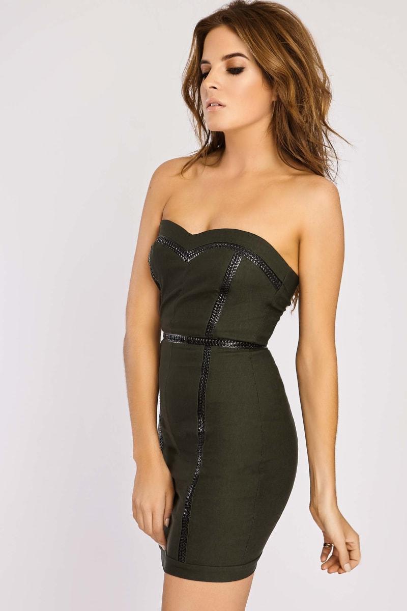 Binky Khaki Bodycon Strapless Mini Dress