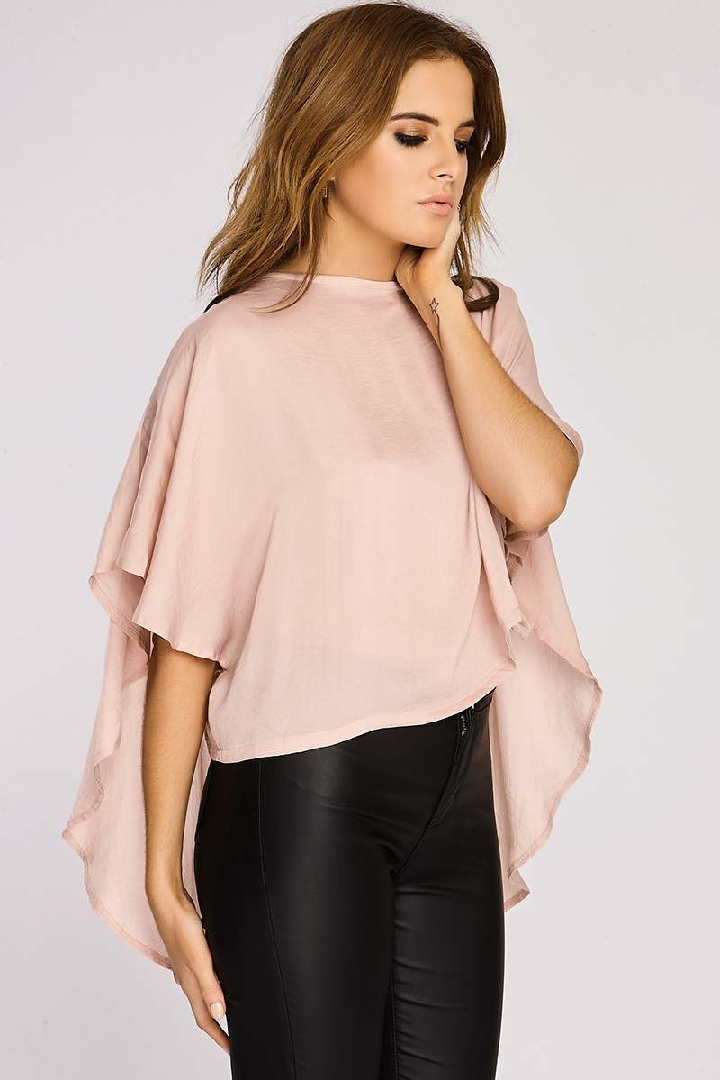 Binky Blush Silky Cape Back Top