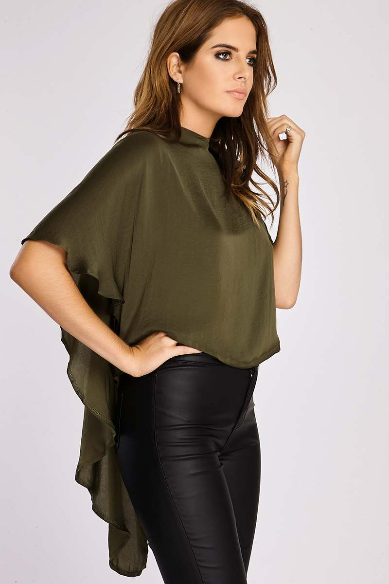 Binky Khaki Silky Cape Back Top