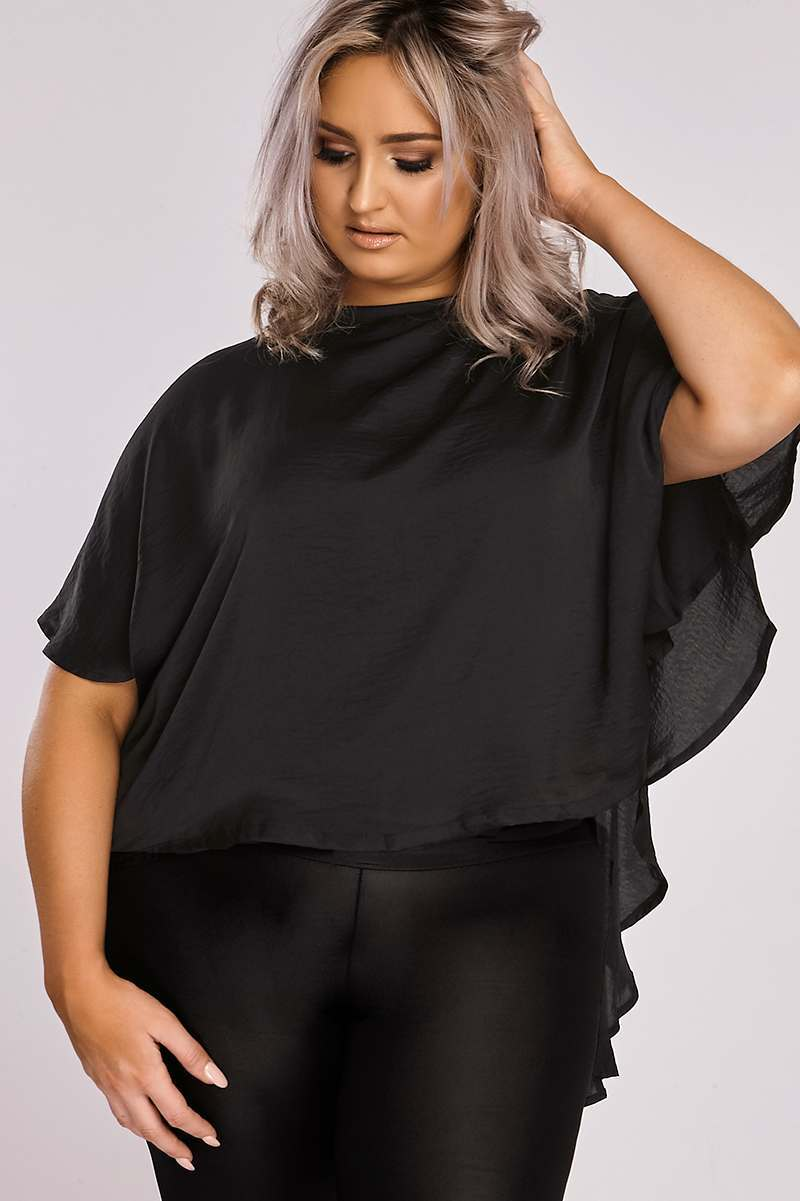 Curve Binky Black Silky Cape Back Top