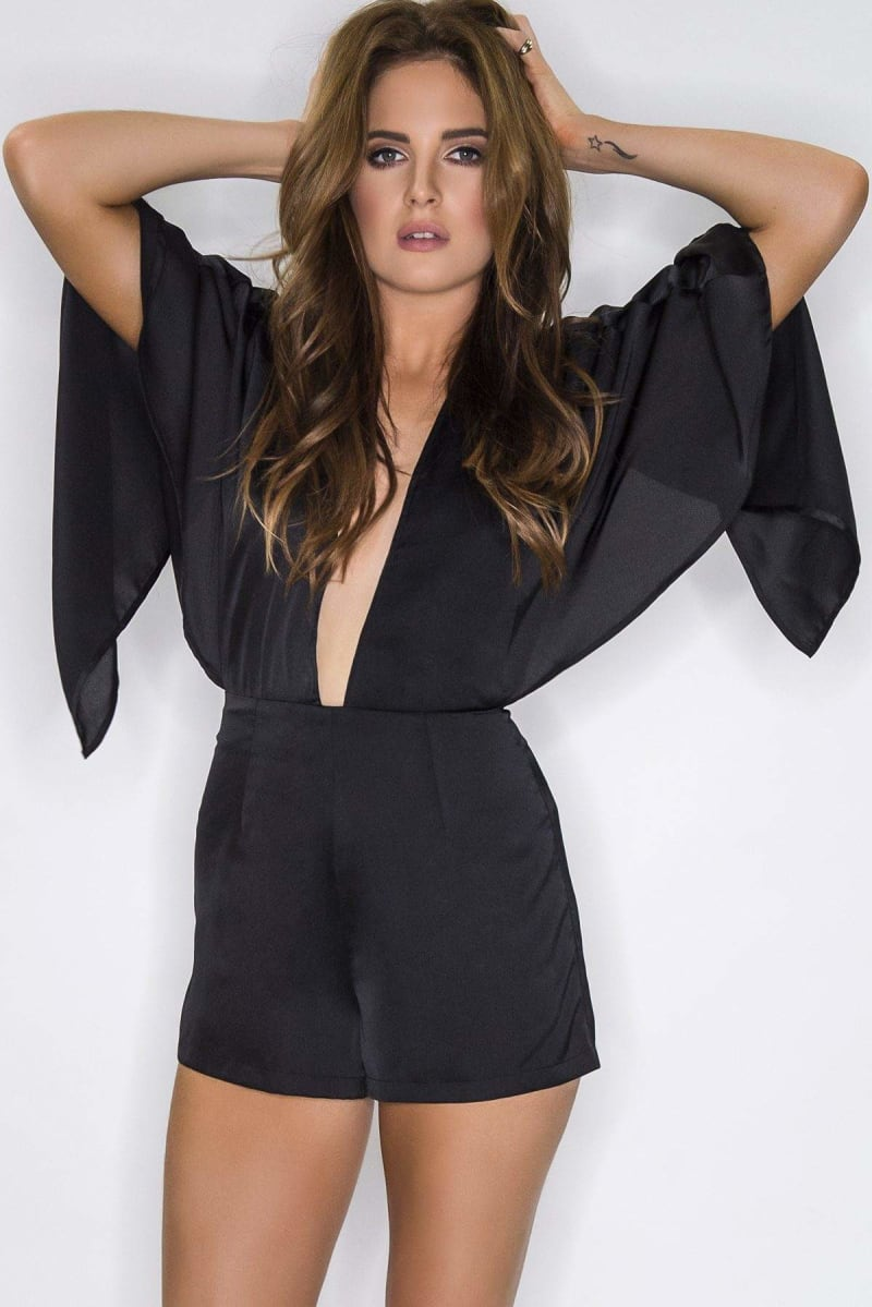Binky Black Satin Plunge Front Cape Playsuit