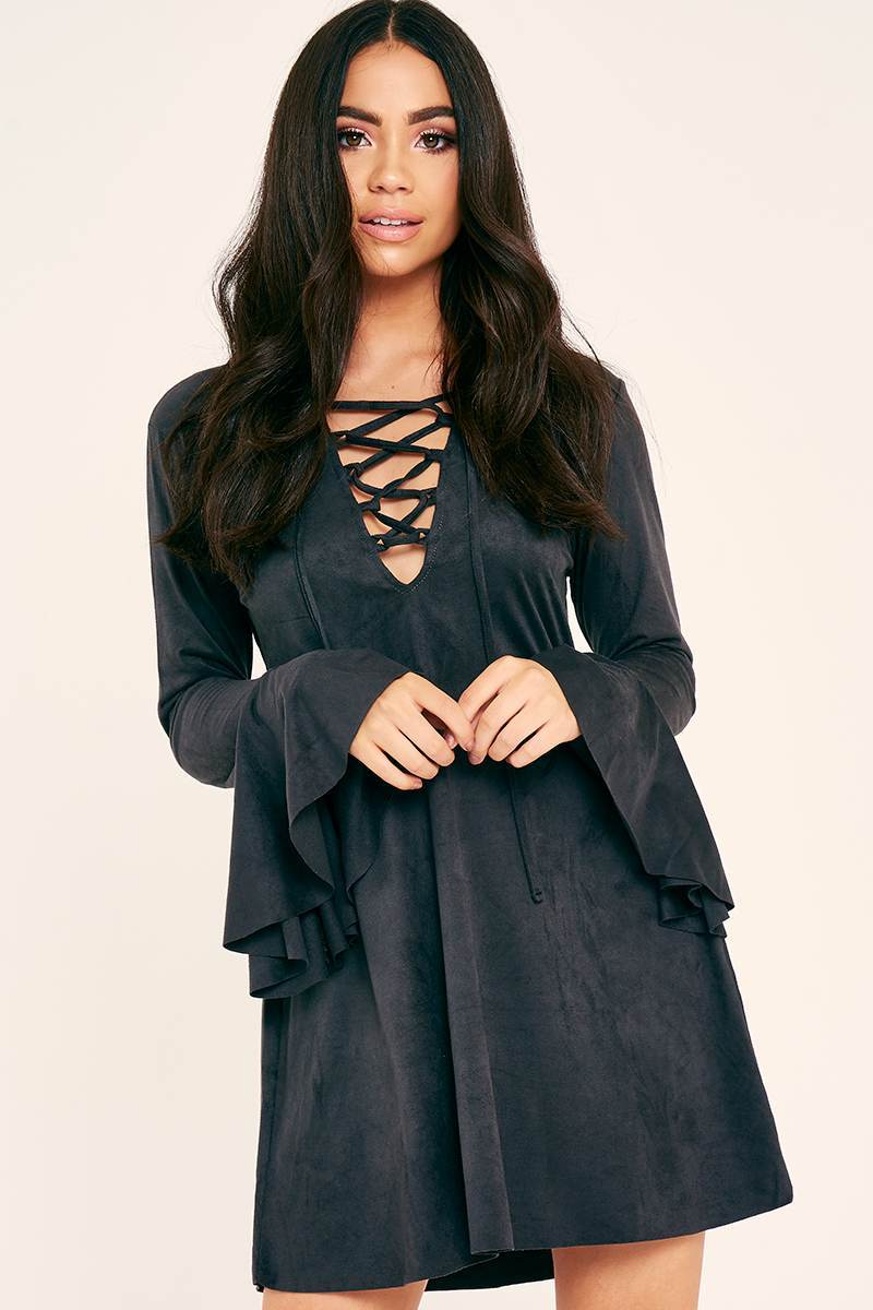 BINKY CHARCOAL SUEDETTE LACE UP FLUTE SLEEVE DRESS