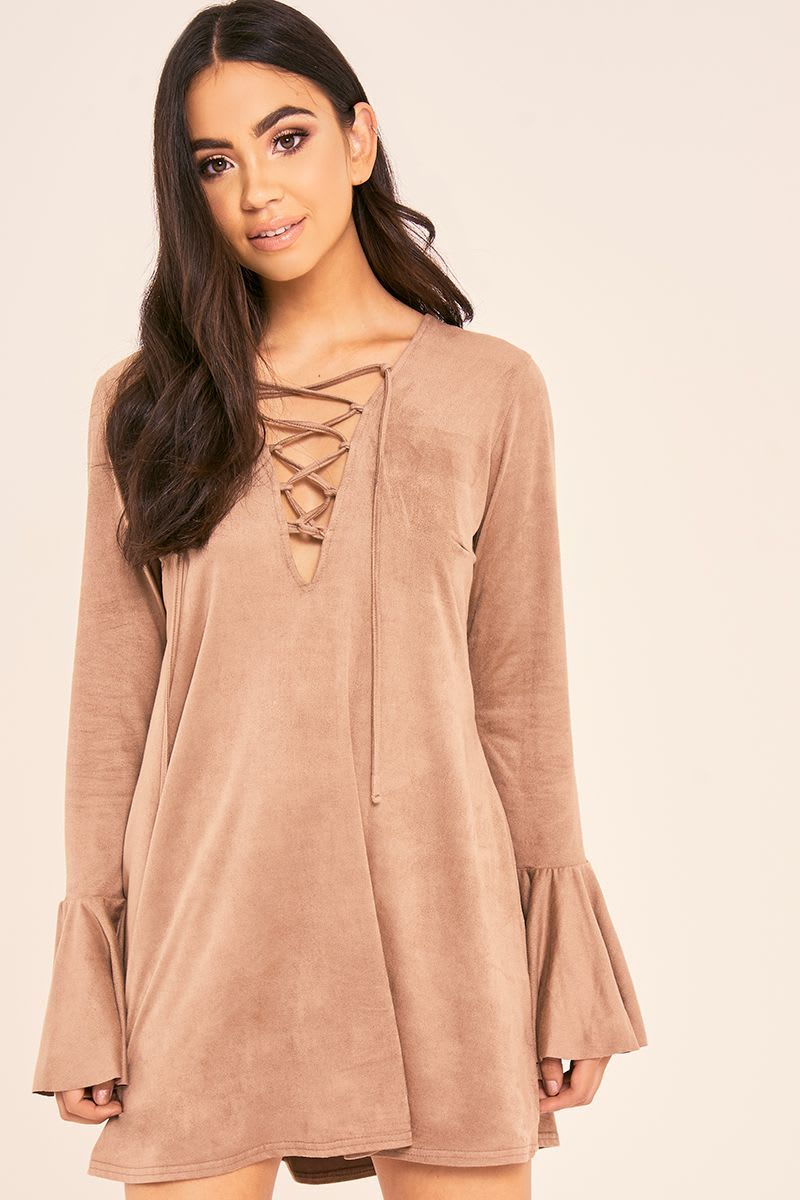 BINKY MOCHA SUEDETTE LACE UP FLUTE SLEEVE DRESS