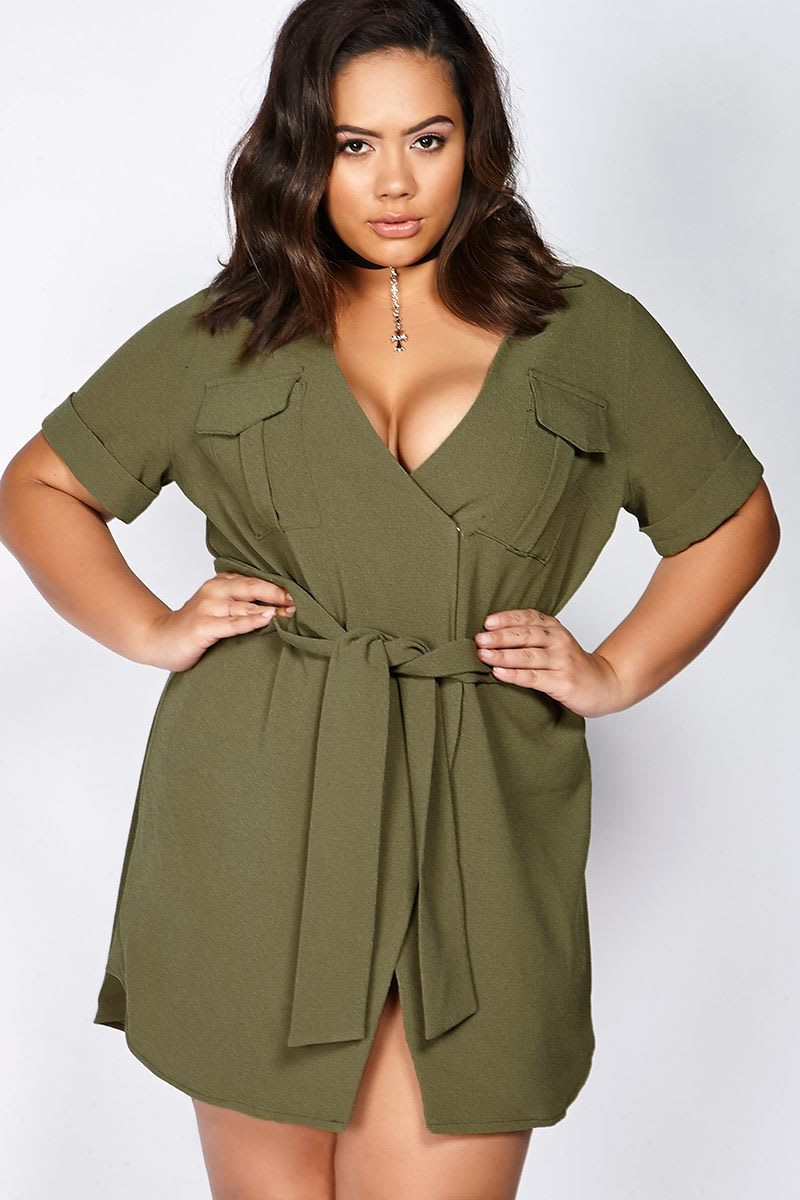 CURVE BINKY KHAKI WRAP FRONT UTILITY DRESS