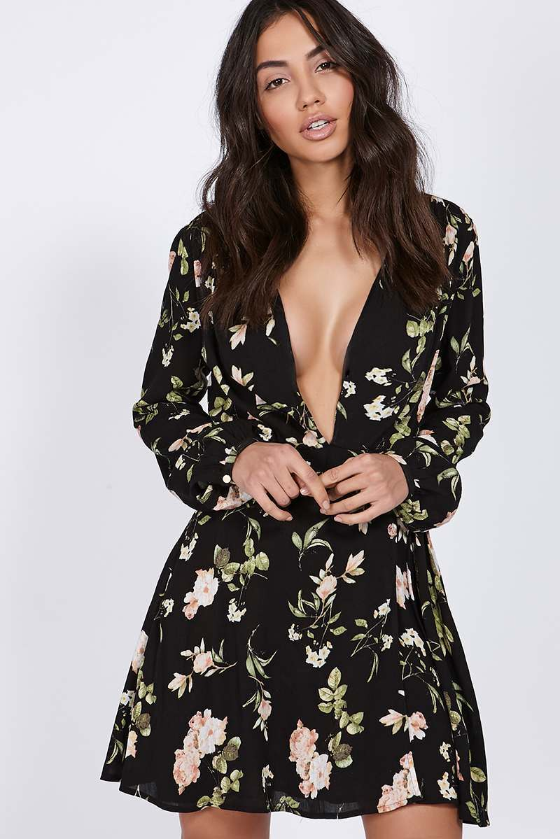 BINKY BLACK FLORAL PLUNGE WRAP SKATER DRESS
