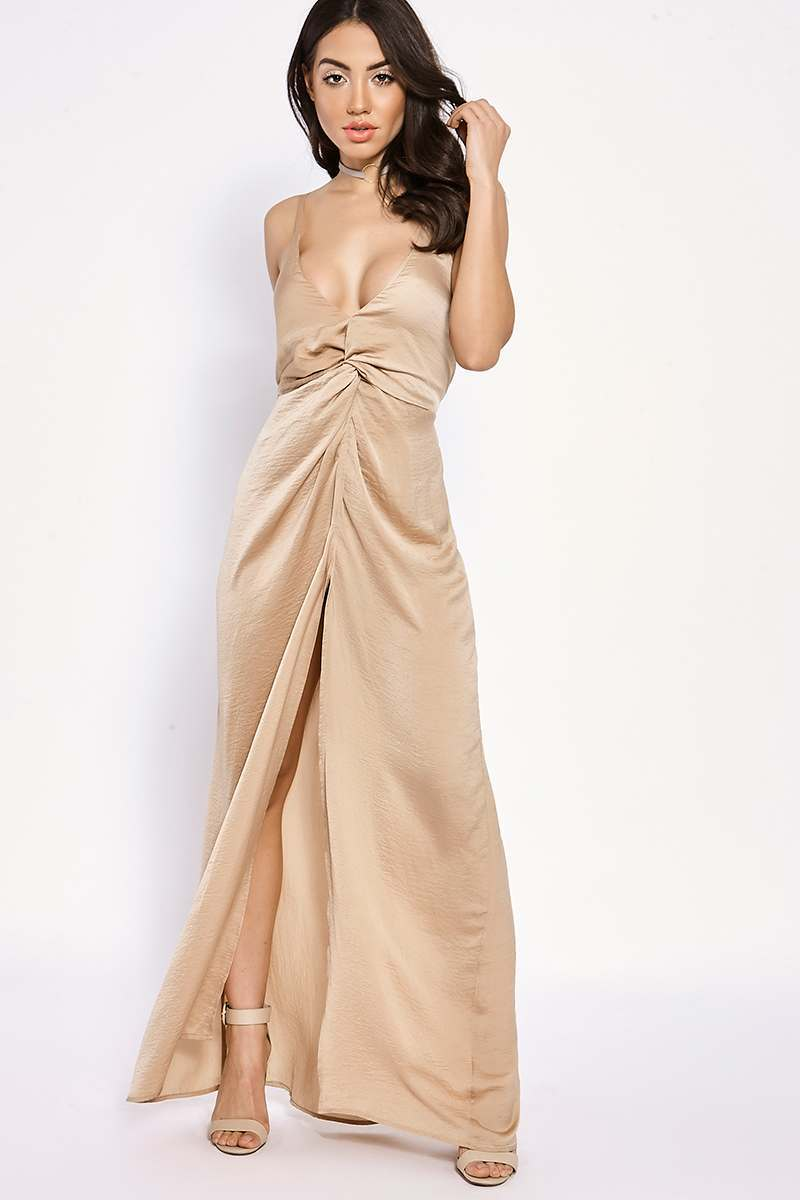BINKY CAMEL SILKY KNOT FRONT MAXI DRESS