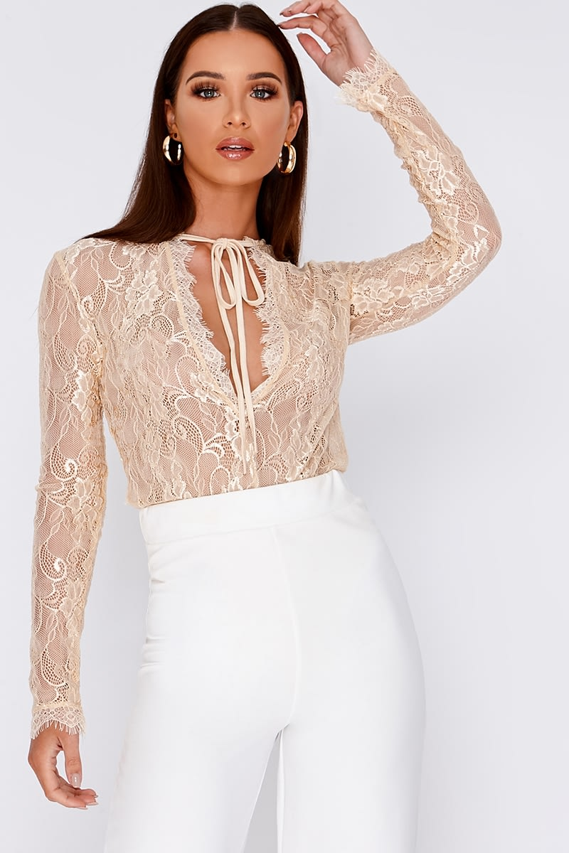 SHAWNA CREAM PLUNGE NECK LACE BODYSUIT