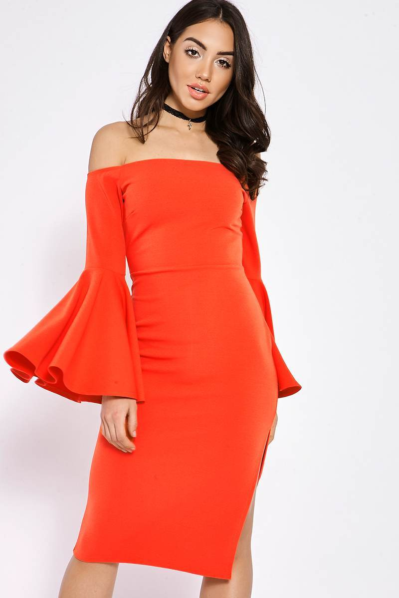 BINKY ORANGE BARDOT FLUTE SLEEVE MIDI DRESS