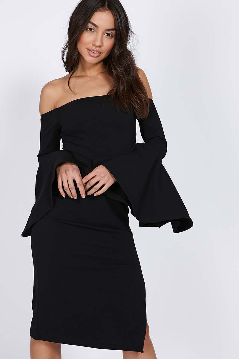 BINKY BLACK BARDOT FLUTE SLEEVE MIDI DRESS