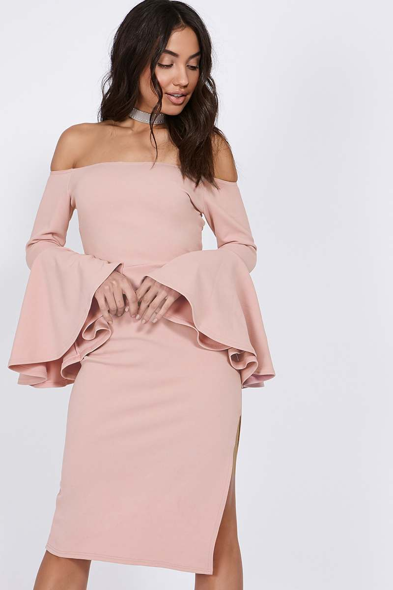 BINKY BLUSH BARDOT FLUTE SLEEVE MIDI DRESS