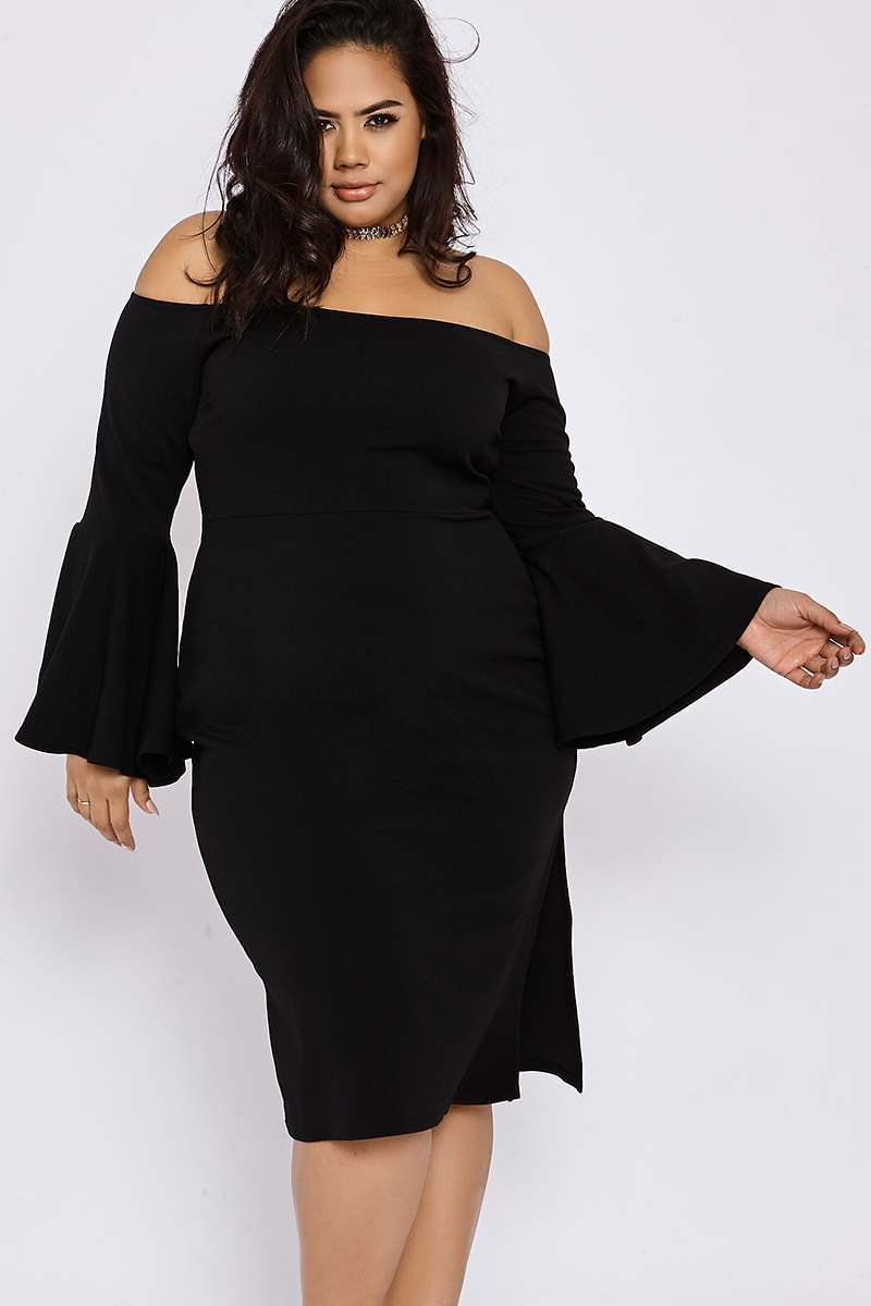 CURVE BINKY BLACK BARDOT FLUTE SLEEVE MIDI DRESS